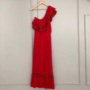 Misa Los Angeles Safa Red One Shoulder Dress